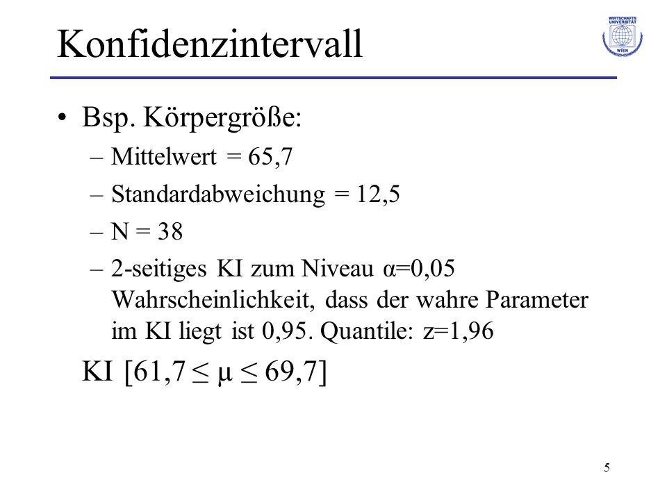 Konfidenzintervall Bsp. Körpergröße: KI [61,7 ≤ µ ≤ 69,7]
